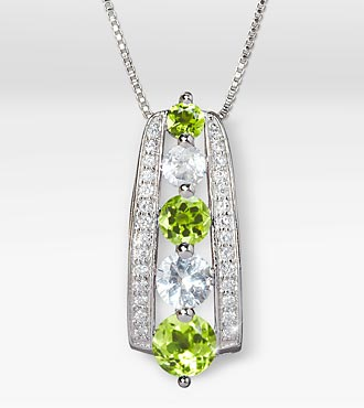 August Celebration Graduated Created White Sapphire & Genuine Peridot Birthstone Pendant