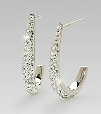 White Swarovski Crystal Sterling Silver Earrings
