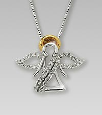 0.20 cttw Diamond Angel Sterling Silver Pendant