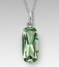Rectangular Cushion Cut Green Amethyst Sterling Silver Pendant