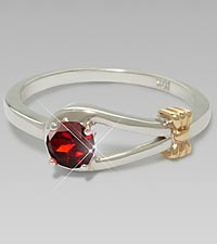 January Birthstone Garnet Sterling Silver Ring