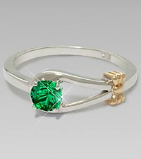 May Birthstone Synthetic Emerald Sterling Silver Ring