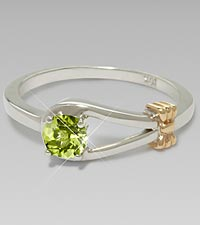 August Birthstone Genuine Peridot Sterling Silver Ring