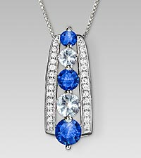 September Birthstone Graduated Created White & Created Blue Sapphires Sterling Silver Pendant