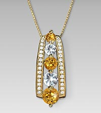 November Birthstone Graduated White Sapphire & Genuine Citrine 14kt Gold ovr Sterling Silver