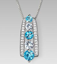 December Birthstone Graduated Created White Sapphire & Genuine Blue Topaz Sterling Silver Pendant