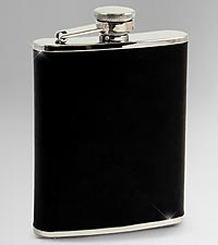 Black Leather Stainless Steel 6-oz. Flask