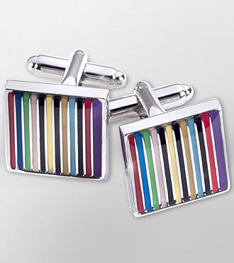 Striped Rhodium Plated Cufflinks
