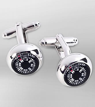 Compass Rhodium Plated Cufflinks
