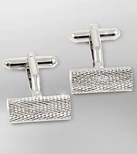 Rhodium Plated Cufflinks with Bar Design