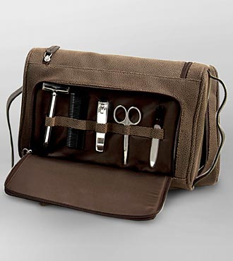 Brown Leather Travel Toiletry Bag with Manicure Set