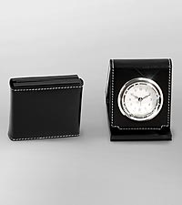 Black Leather Folding Alarm Clock
