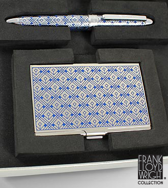 Frank Lloyd Wright® Cinema San Diego Business Card Case & Roller Ball Pen Set