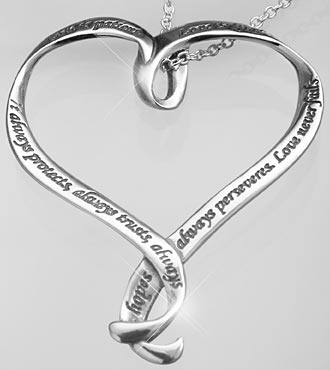 Love is Patient, Love is Kind Sterling Silver Heart-Shaped Pendant