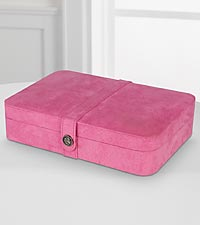 Plush Pink Fabric Jewelry Box & Ring Case