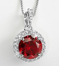 Sterling Silver Created Ruby and Created White Sapphire Pendant
