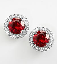 Sterling Silver Created Ruby and Created White Sapphire Earrings
