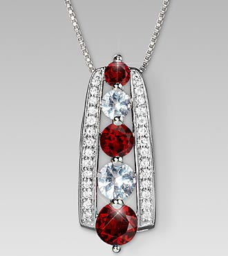 January Birthstone Graduated Created White Sapphire & Genuine Garnet Sterling Silver Pendant