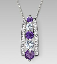 February Birthstone Graduated Created White Sapphire & Genuine Amethyst Sterling Silver Pendant