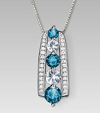 March Birthstone Graduated Created White Sapphire & Created Aquamarine Sterling Silver Pendant