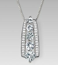 April Birthstone Graduated Created White Sapphire Sterling Silver Pendant