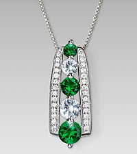 May Birthstone Graduated Created White Sapphire & Synthetic Emerald Sterling Silver Pendant