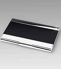 Nickel Plated Business Card Case with Black Anodized Trim
