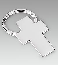 Silver Plated Key Ring with Cross