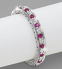 Genuine Ruby & 0.25 cttw Diamond Sterling Silver Ring