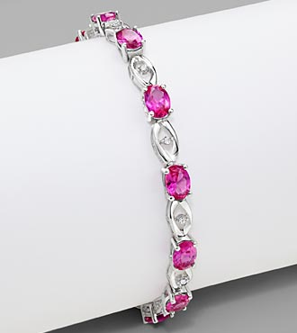 7*5 Oval Created Pink Sapphire & 0.10 cttw Diamond Sterling Silver Bracelet