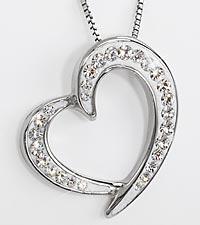 White Swarovski Crystal elements Heart-Shaped Sterling Silver Pendant