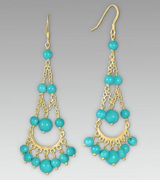 Turquoise Gold Over Sterling Silver Chandelier Earrings