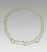 Double Strand Mother of Pearl Gold Over Sterling Silver Necklace