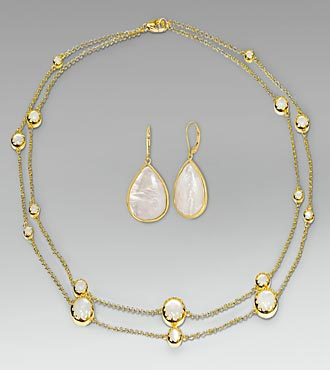 Mother of Pearl Gold Over Sterling Silver Necklace & Earring Set