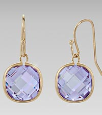 Lavender Glass Dangling Earrings
