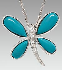 Turquoise & CZ Dragonfly Sterling Silver Pendant