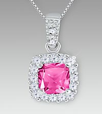 Created White & Created Pink Sapphire Sterling Silver Pendant