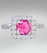 Created White & Created Pink Sapphire Sterling Silver Ring