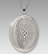 Mother's Day Oval Locket with Swarovski Crystals