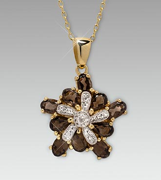Smoky Topaz & Diamond Gold over Sterling Silver Pendant
