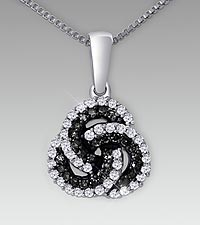 Sterling Silver 0.33cttw Black & White Diamond Pendant