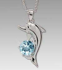 Simulated Blue Topaz Dolphin Pendant