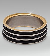 Stainless Steel Black Striped Ring