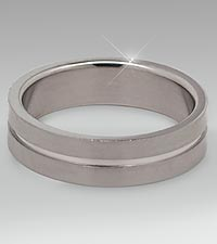 Stainless Steel Ring with Grooved Center