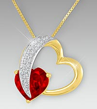 10mm Garnet & Created White Sapphire Gold over Sterling Silver Heart Pendant