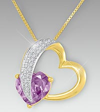10mm Amethyst & Created White Sapphire Gold over Sterling Silver Heart Pendant