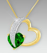 10mm Simulated Emerald & Created White Sapphire Gold over Sterling Silver Heart Pendant