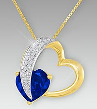 10mm Created Blue Sapphire & Created White Sapphire Gold over Sterling Silver Heart Pendant
