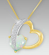 10mm Created Opal & Created White Sapphire Gold over Sterling Silver Heart Pendant