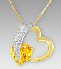 10mm Citrine & Created White Sapphire Gold over Sterling Silver Heart Pendant